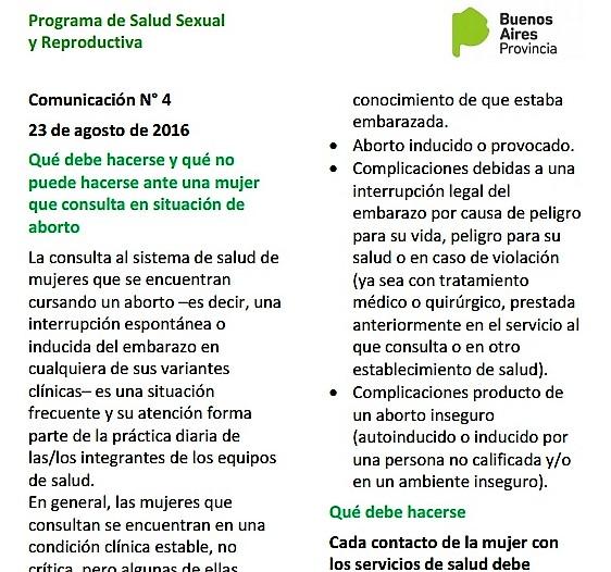 Proceder ante mujeres en situación de aborto. Pcia de Buenos Aires