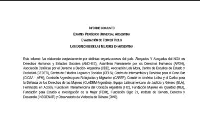 EPU. Informe conjunto: Los derechos de las mujeres en Argentina