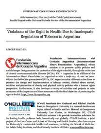EPU. Informe conjunto: Violaciones al derecho a la salud debido a la regulación inadecuada del tabaco en Argentina