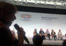 Mabel Bianco pregunta a Merkel, durante el panel junto a integrantes de W20-Alemania.