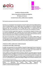 La situación de las niñas y adolescentes en Argentina. Informe sombra al Comité de Derechos del Niño